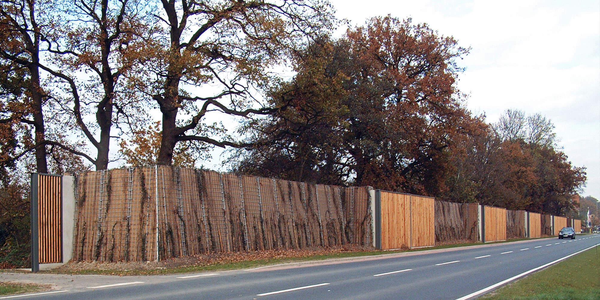 Begrünte Lärmschutzwand mit Holzelementen