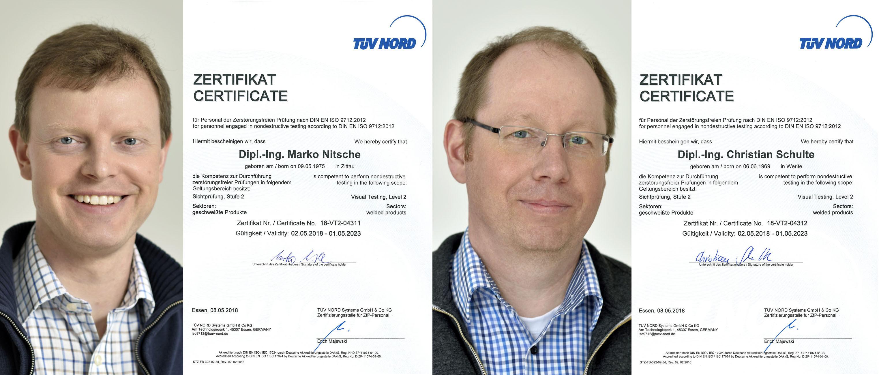 pb+ Prokuristen Marko Nitsche und Christian Schulte rezertifiziert als Schweißnahtprüfer